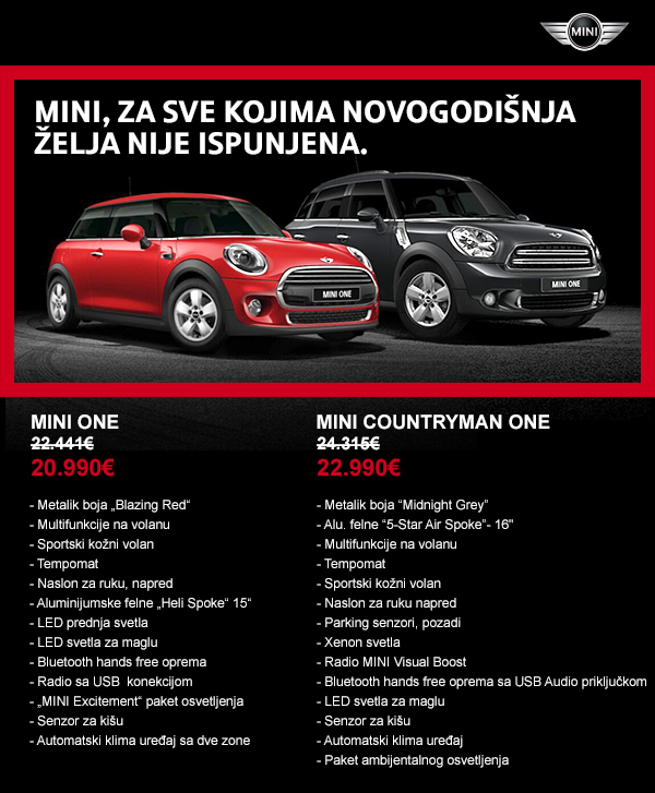 MINI One oprema